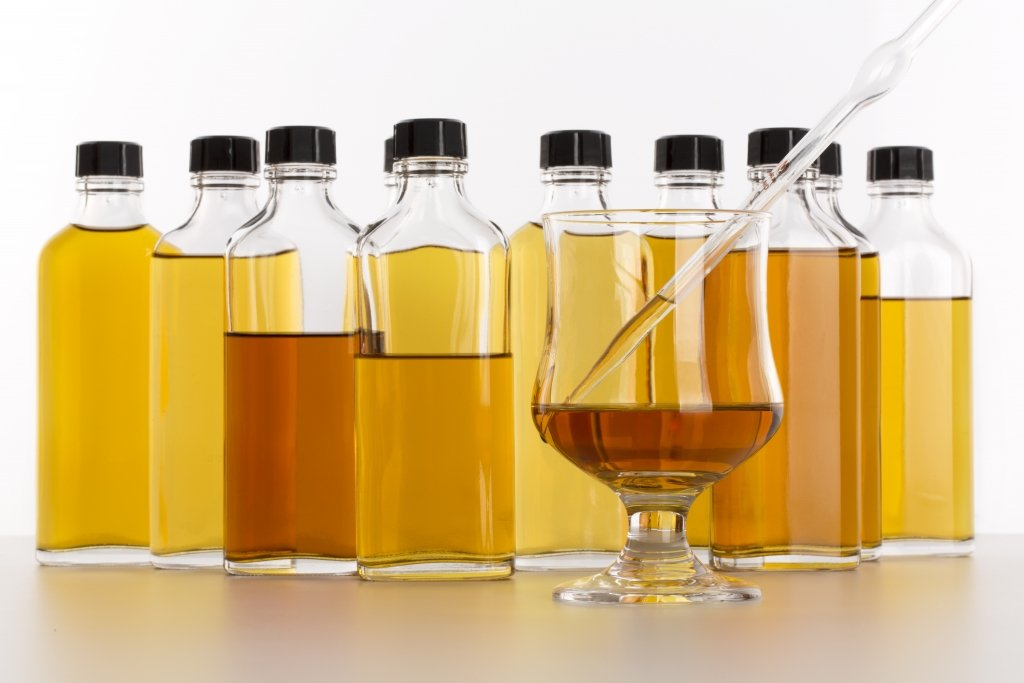 sample bottles and a blended whisky